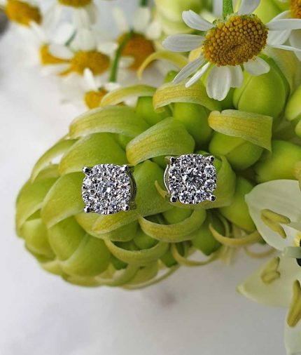 18ct White Gold Dainty Flower Shaped Diamond Earrings