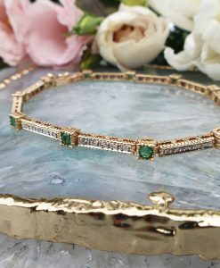 Elegant 14ct Yellow Gold Emerald and Diamond Bracelet