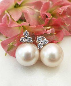 Pearl & Diamond In 18ct White Gold Earrings
