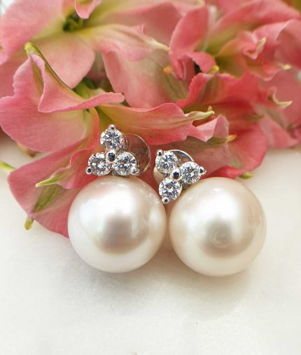 Pearl & Diamond In 18ct White Gold Earrings