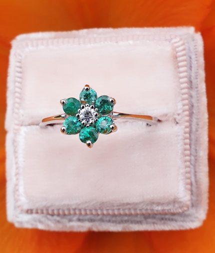 18ct White Gold Gemstone & Diamond Flower Ring: Ruby, Emerald or Sapphire
