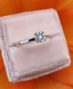 18ct White Gold Single Rose Cut Diamond Cluster Ring