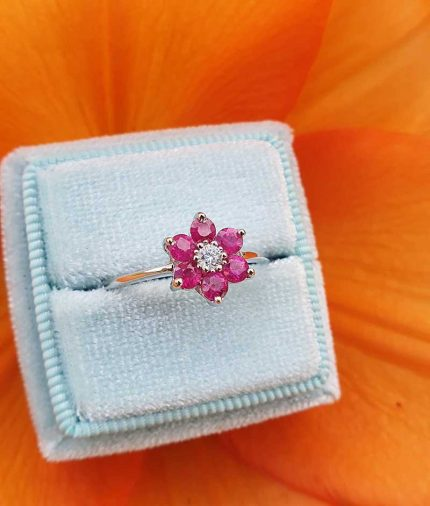 18ct White Gold Gemstone & Diamond Flower Ring: Ruby, Emerald or Sapphire