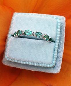 18ct White Gold Emerald & Diamond Full Eternity Ring