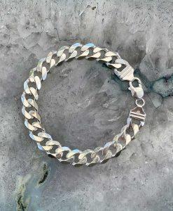 "Unisex Sterling Silver 1.2cm Curb Chain Bracelet 8"""