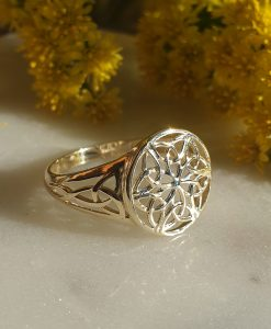 Solid Signet Ring with a Filigree Celtic Design