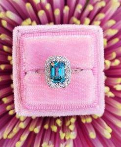 Art deco zircon and Diamond platinum ring