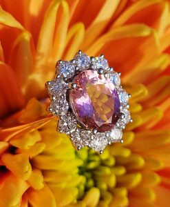 18ct Rose Gold Tourmaline and Diamonds ring