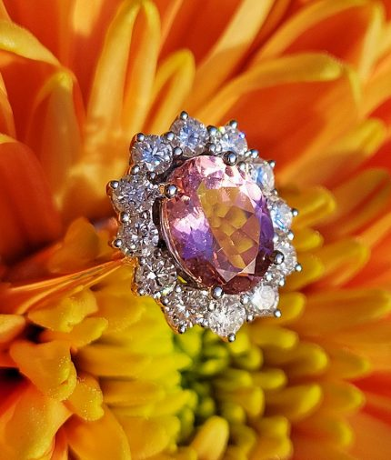 18ct Rose Gold Tourmaline and Diamonds ring
